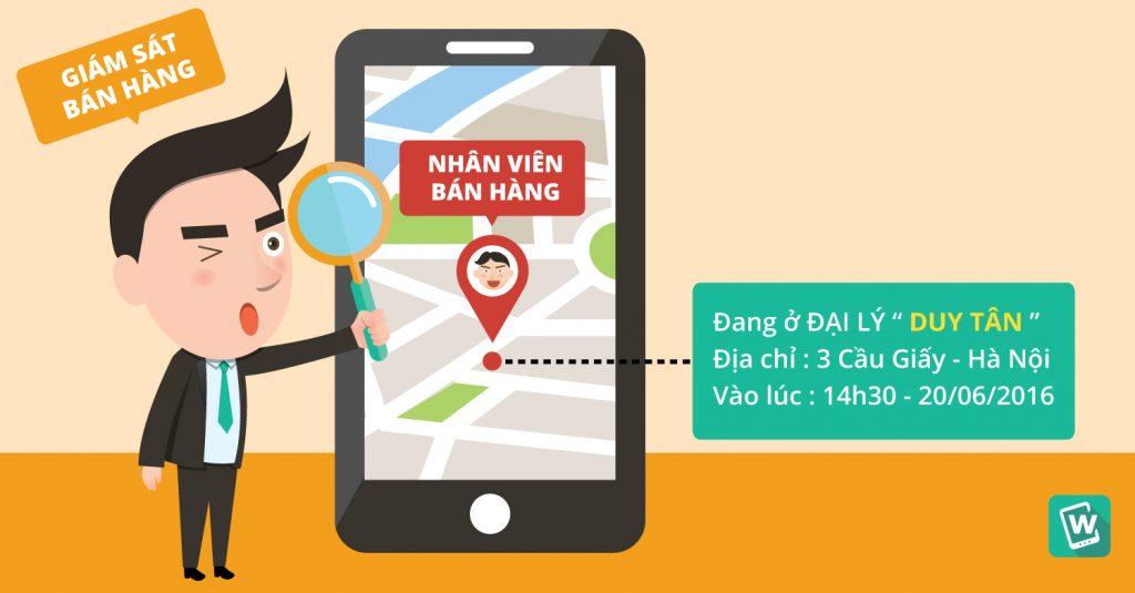 Giám sát nhân viên bán hàng trên bản đồ số GPS